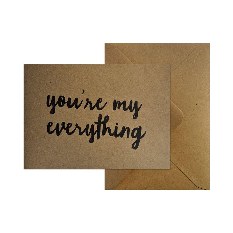 Wenskaart - You're my everything  #kaart #kraft #A6 #typografie #recycle #quote #grafisch #ontwerp #design #envelop #papier #bruin #karton