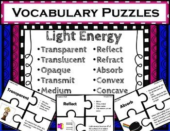 Use These Puzzles To Provide Quick And Fun Matching Practice With Light  Energy Vocabulary. Each Puzzle Includes 4 Pieces: Vocabulary Word, Examples/ Facts, ...