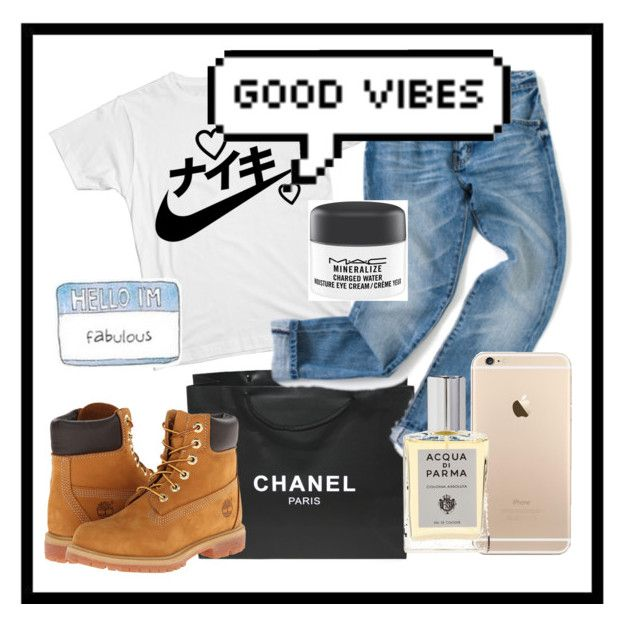 """Good Vibes"" by bethieldirar ❤ liked on Polyvore featuring Chanel, Timberland, MAC Cosmetics and Acqua di Parma"