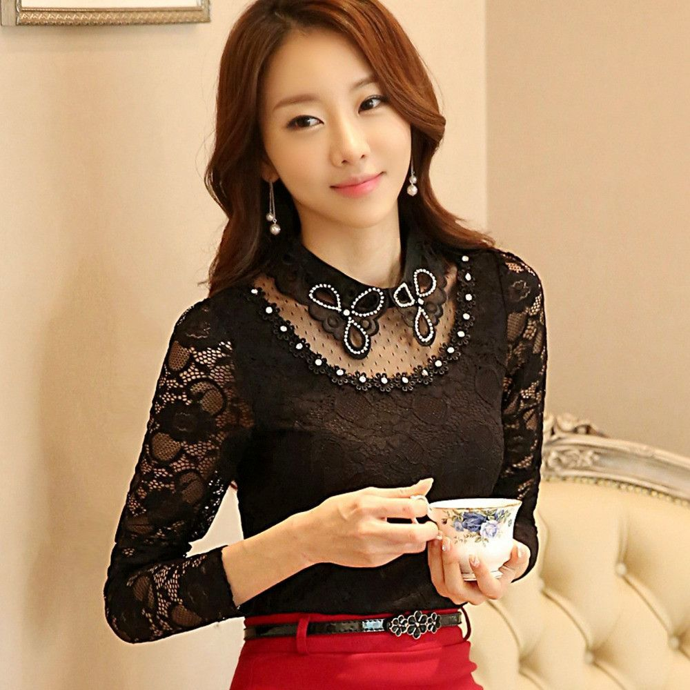 Spring autumn lace blouse mesh patchwork lace embroidery shirt long