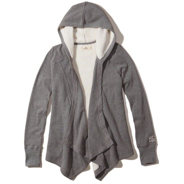 Hollister Sherpa Lined Waffle Waterfall Cardigan ($50) ❤ liked on ...