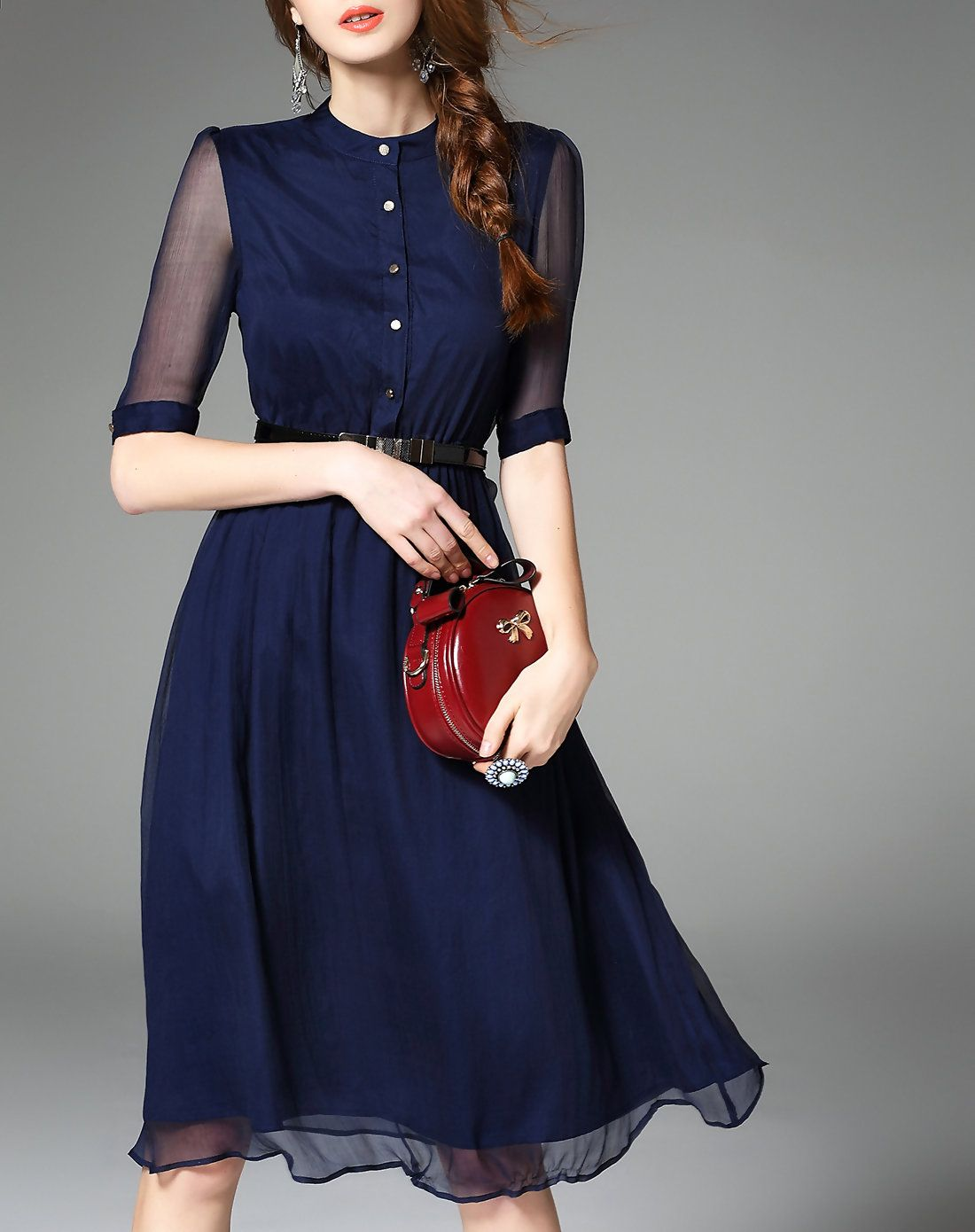06290b303ad Navy Blue Silk Half Sleeve Belted Solid Midi Dress