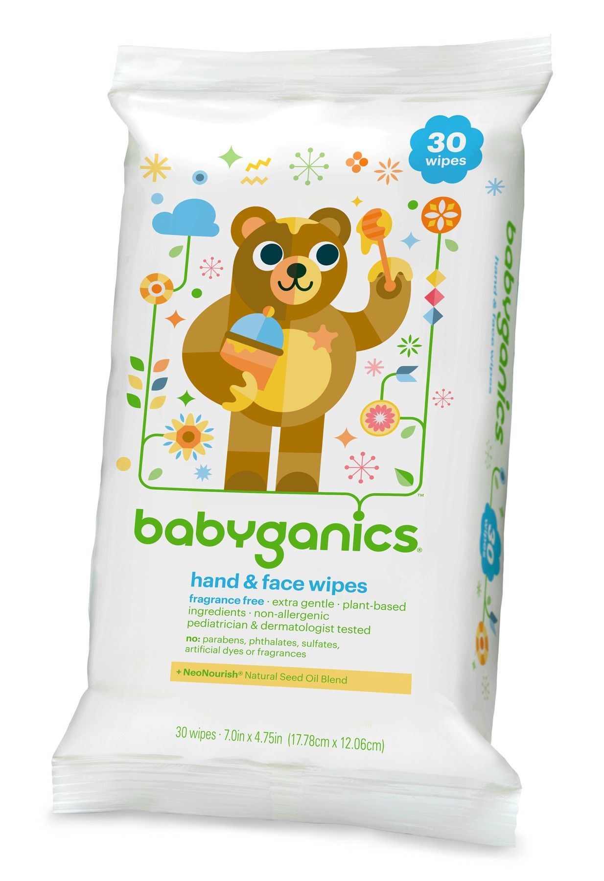 30 Count Fragrance Free Babyganics Hand and Face Wipes