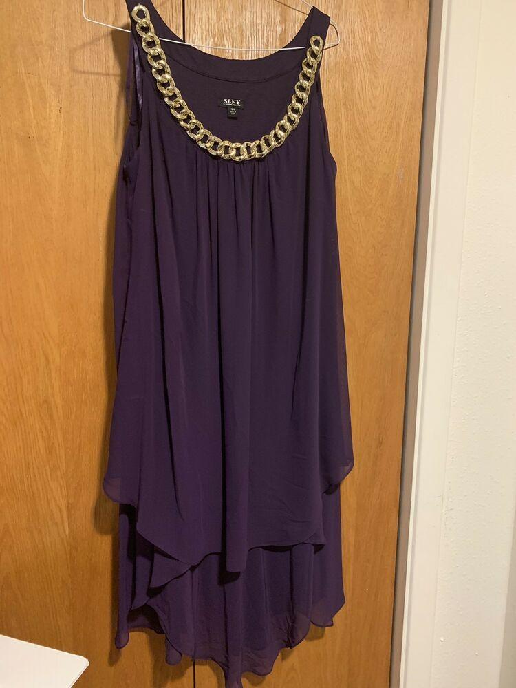 0d43c196214e SLNY Womens New Eggplant W sheer Overlay Sleeveless Shift Dress 18W  fashion   clothing  shoes  accessories  womensclothing  dresses (ebay link)