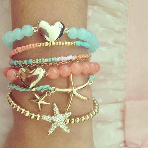 Bracelets #accessories #gold #blue #coral