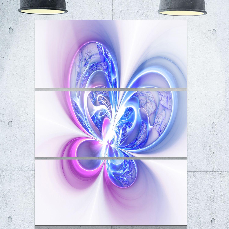 Purple Metal Wall Art Shiny Purple Digital Fractal Flower  Floral Glossy Metal Wall Art