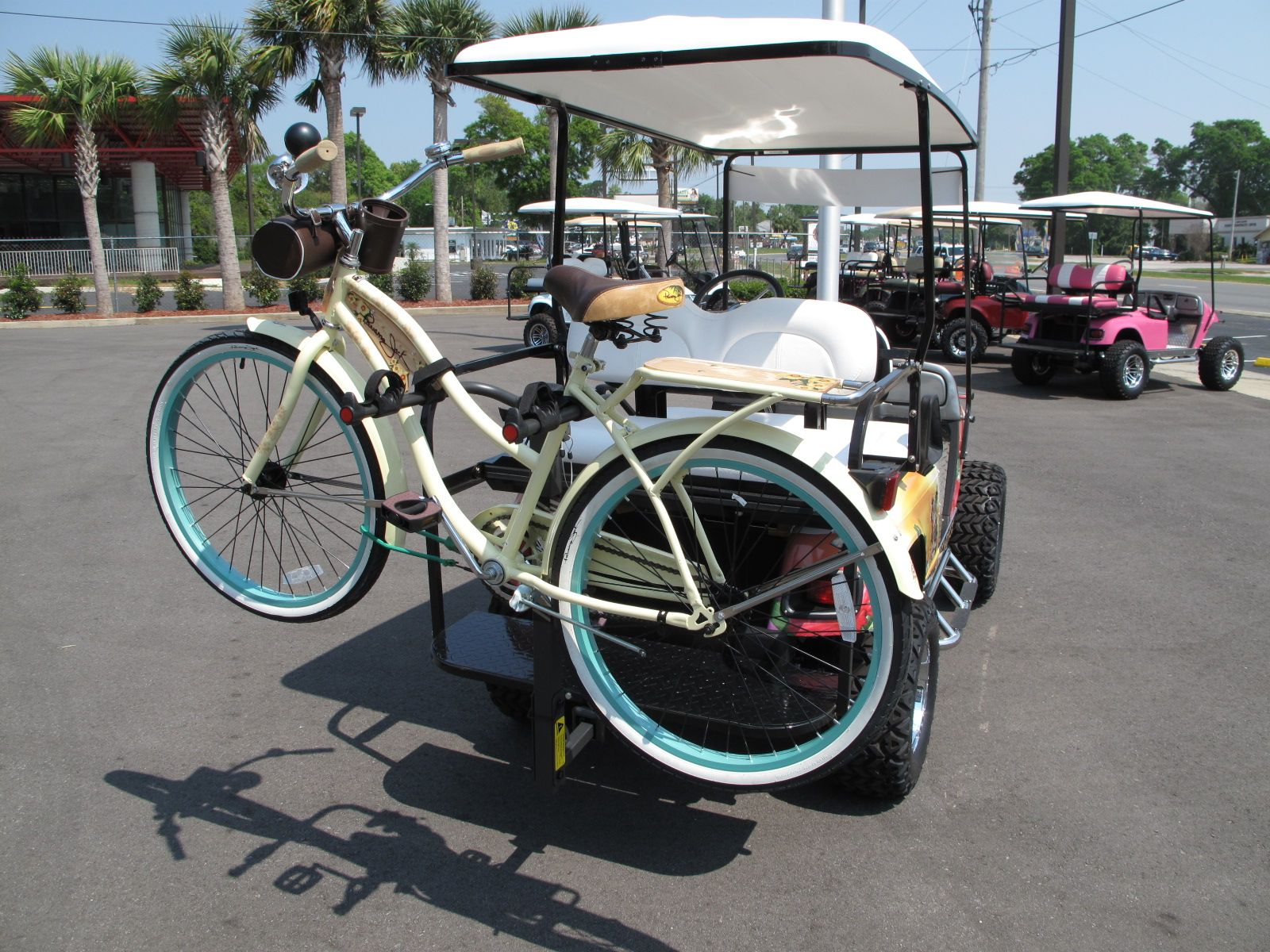 Rear View Of Bicycle On A Golf Cart
