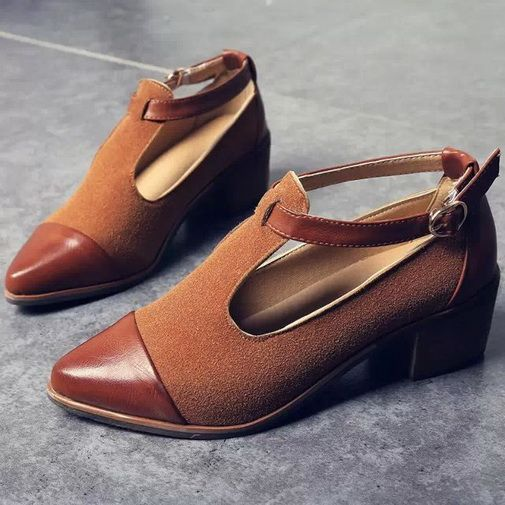 Womens Vintage Pointed Toe Cuban Low Heels Ankle Strap Cut Out Fashion Shoes