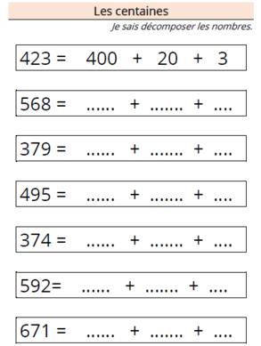 Etude des nombres - Les centaines | Ulis ecole | Exercice ...