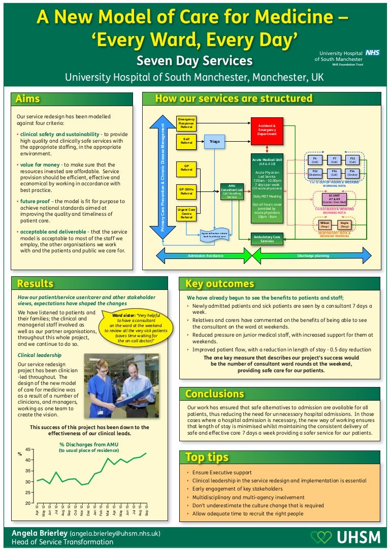 Poster from the 'Delivering NHS services, seven days a