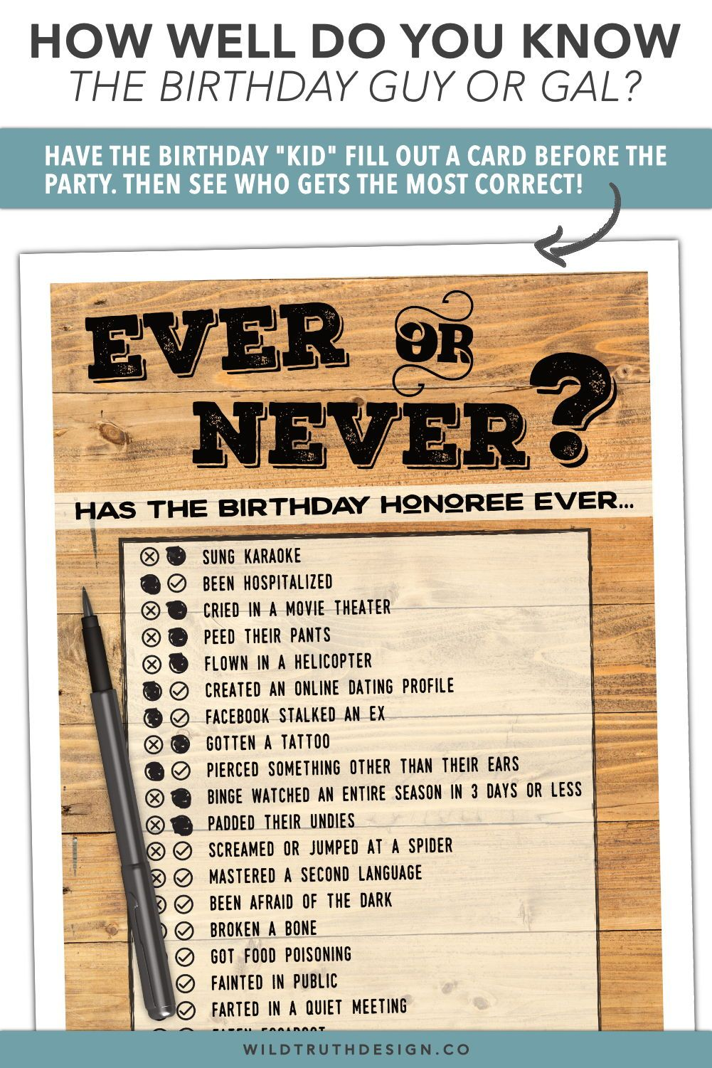 Adult How Well Do You Know the Birthday Honoree Quiz Birthday Party Printable Birthday Game Birthday Questionnaire Activity