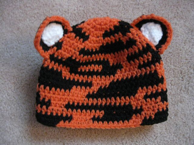 Crochet Tiger Hat--Black and Orange Stripe Hat--Made To Order--Any Size