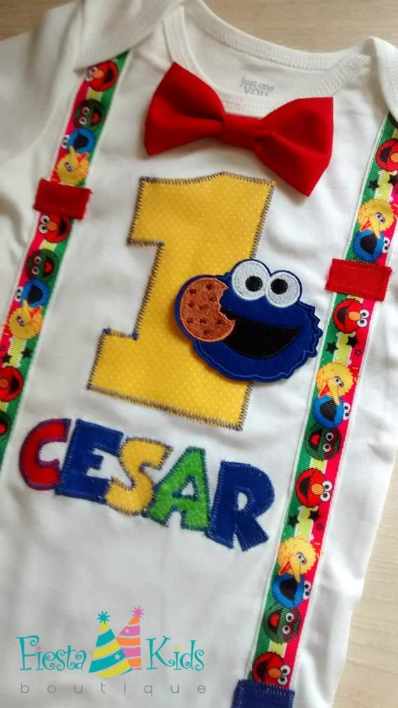 COOKiE MoNSTER Birthday Baby Boy First Party Theme Sesame Street Outfit