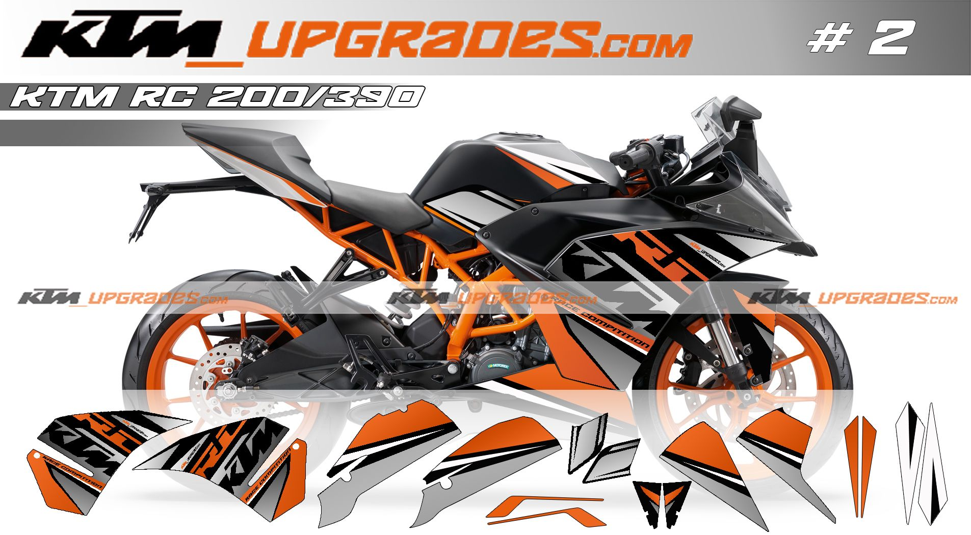 Ktmupgrades custom decal set no 2 for rc 200 390 orange ktm upgrade parts