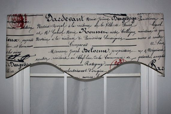 Red Postmark French Script Shaped Valance In Navy By
