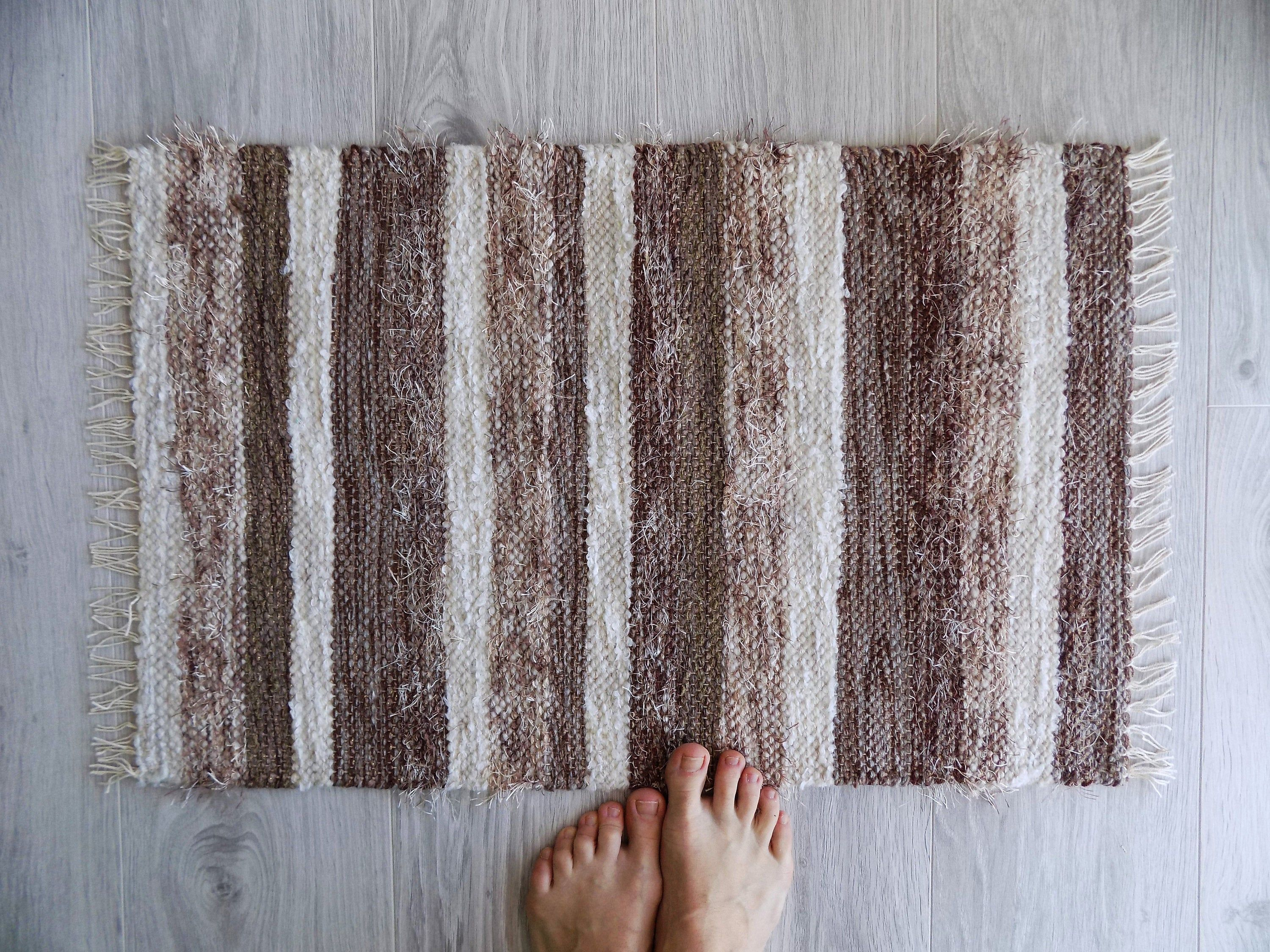Brown And Beige Handwoven Small Bath Rug Striped Tribal Rug