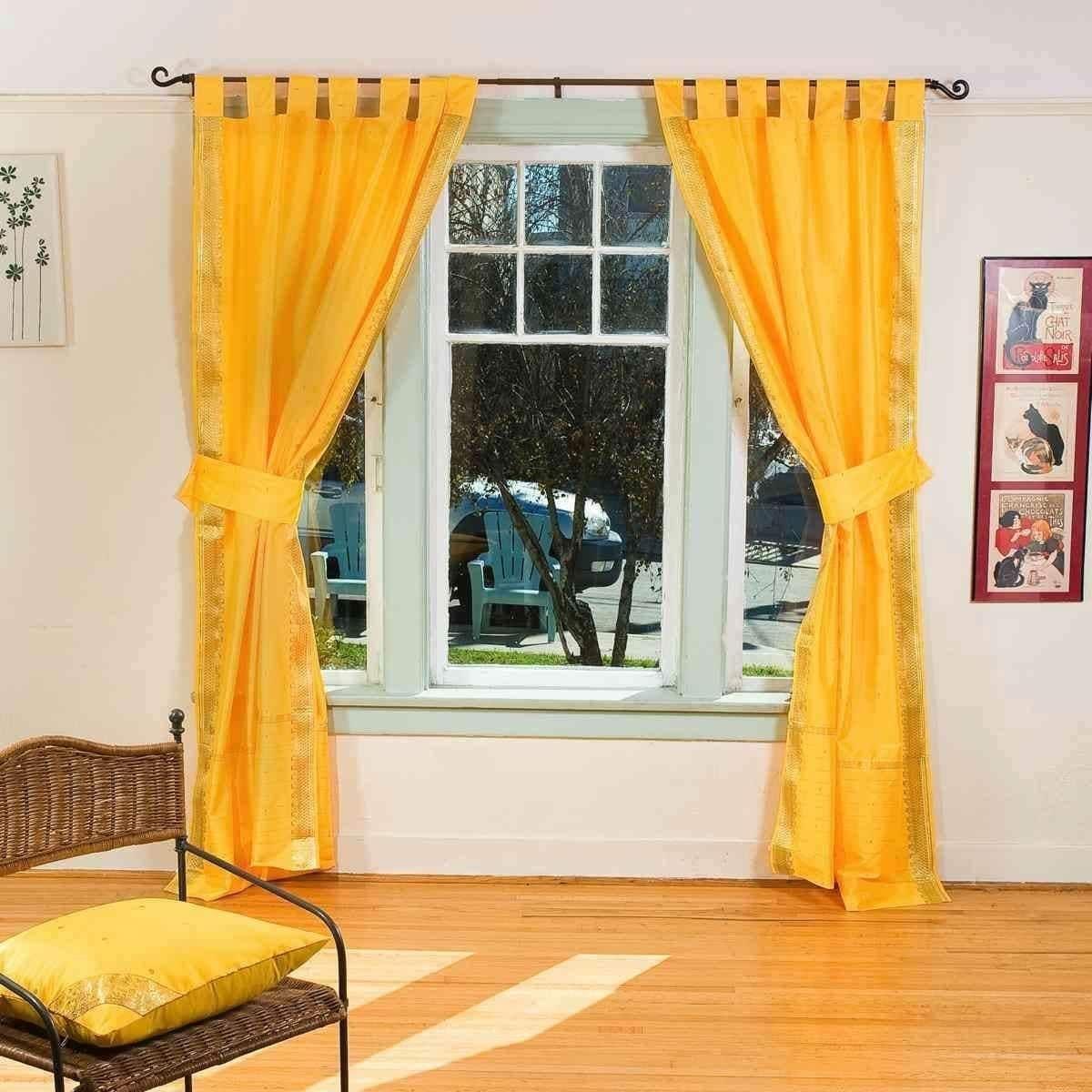 Indian selections indo yellow tab top sari sheer curtain in x