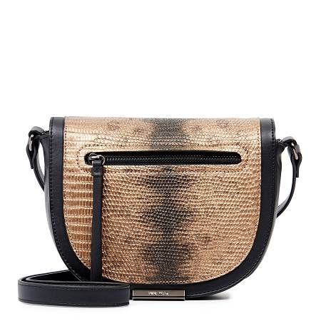 DIMA CROSS BODY - Hit the town in this chic saddle bag, decorated with metallic…