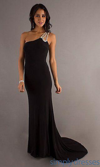 Long One Shoulder Open Back Gown at PromGirl.com
