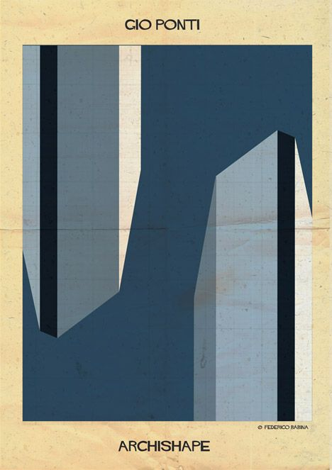 Famous buildings become abstract blocks of colour in Federico Babina's Archishape series