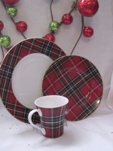 222 fifth wexford plaid tartan christmas red gold mugs cups set of 4 new & 222 fifth wexford plaid tartan christmas red gold mugs cups set of 4 ...