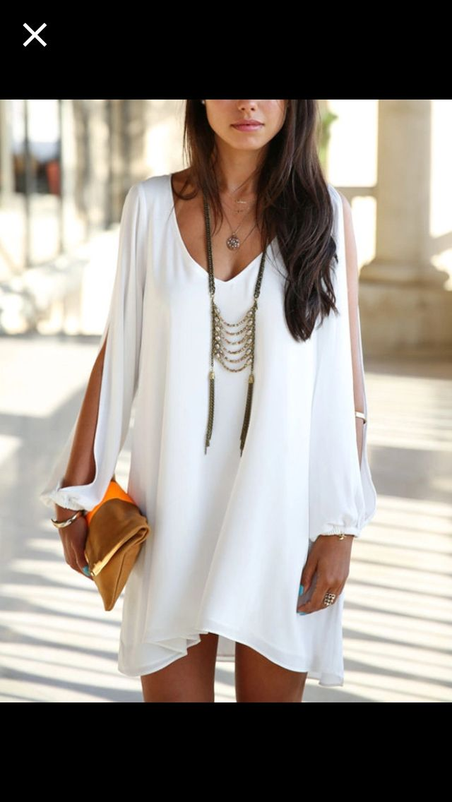Summer Fashion 2015.  White Chiffon Open Arm Dress is romantic preppy trendy and is perfect for wearing for a night out. ::M::