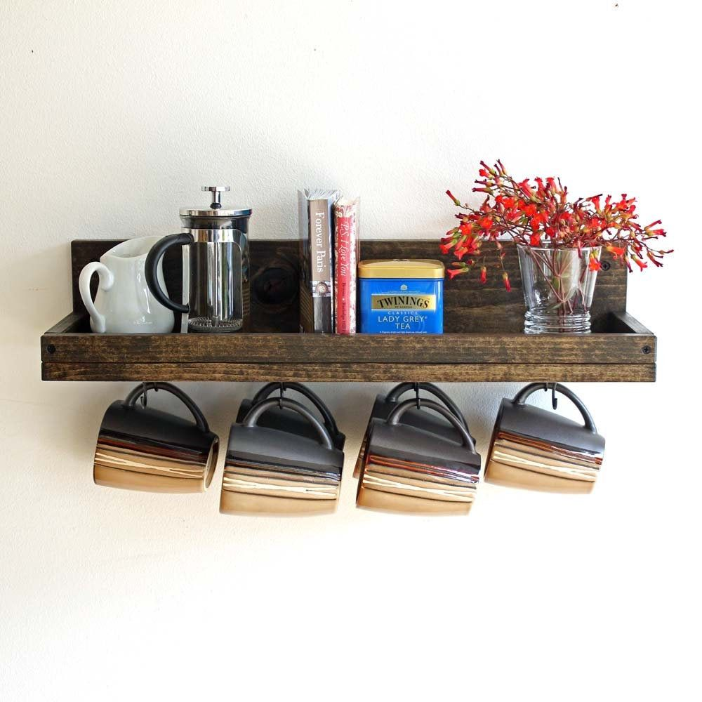 Coffee Mug Shelf with hooks | Coffee Mug Wall Rack | Hanging Coffee Cup Mug Rack | Coffee Mug Holder | Coffee Bar Shelf Organizer