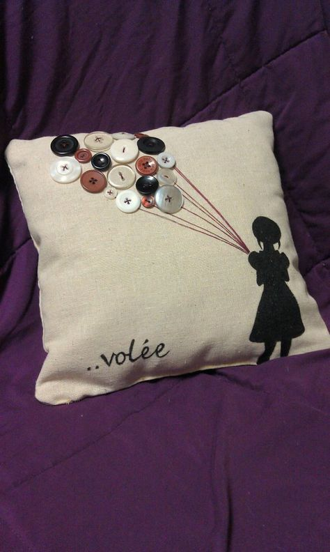10x10 Girls Bedroom: Adorable Handstitched Girl With Balloons Pillow 10x10. $35