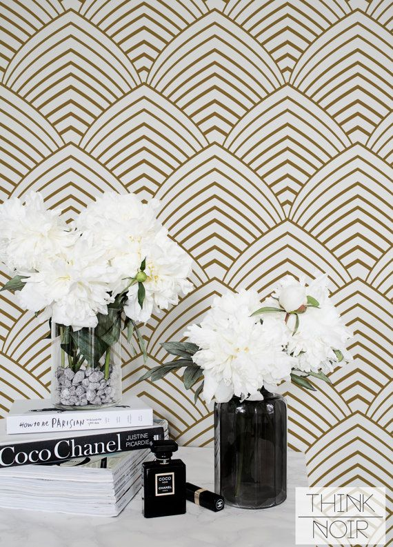 15 % OFF Removable Art Deco Wallpaper / Self Adhesive Geometric Wallpaper /  Minimal Wall Mural