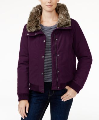 Bernardo Womens Packable Zip Puffer Jacket with Pillow Collar