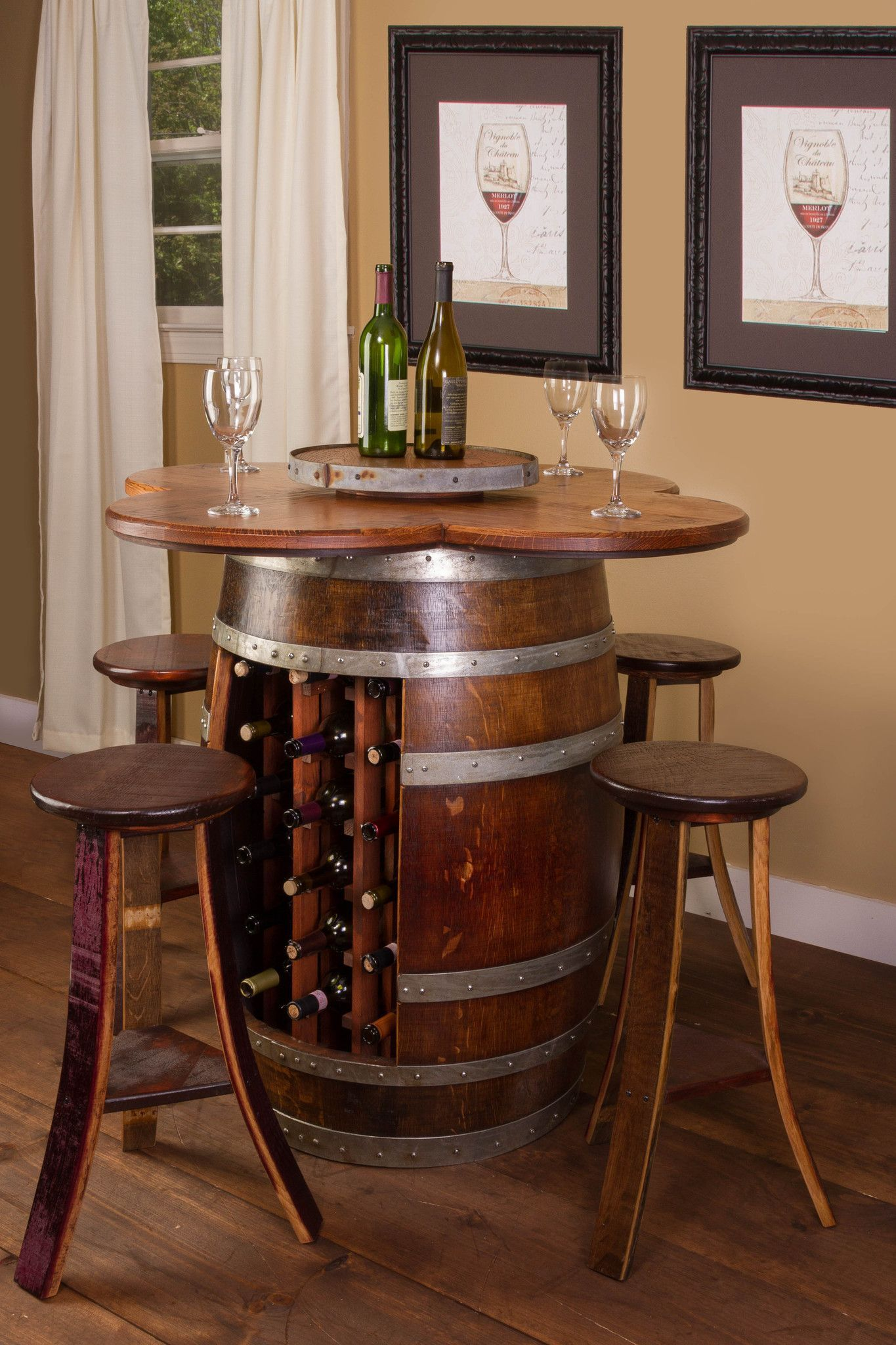 Wine Barrel Table Set Wine Rack Base With 4 Stools Donachelli S Cellars Wine Barrel Table Barrel Table Wine Barrel Furniture