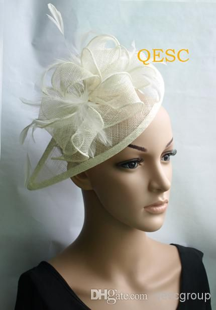 Cream Ivory Sinamay Fascinator Hat For Wedding Party