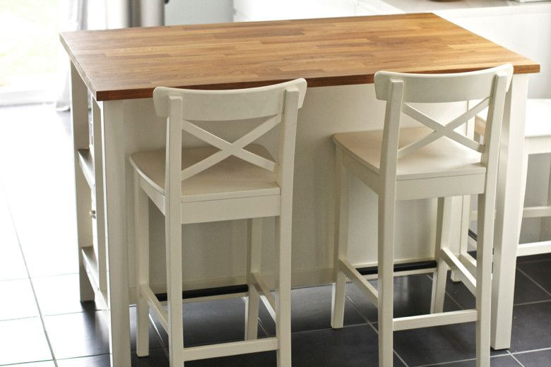 Ingolf Bar Stool With Backrest White Ikea Kitchen Island