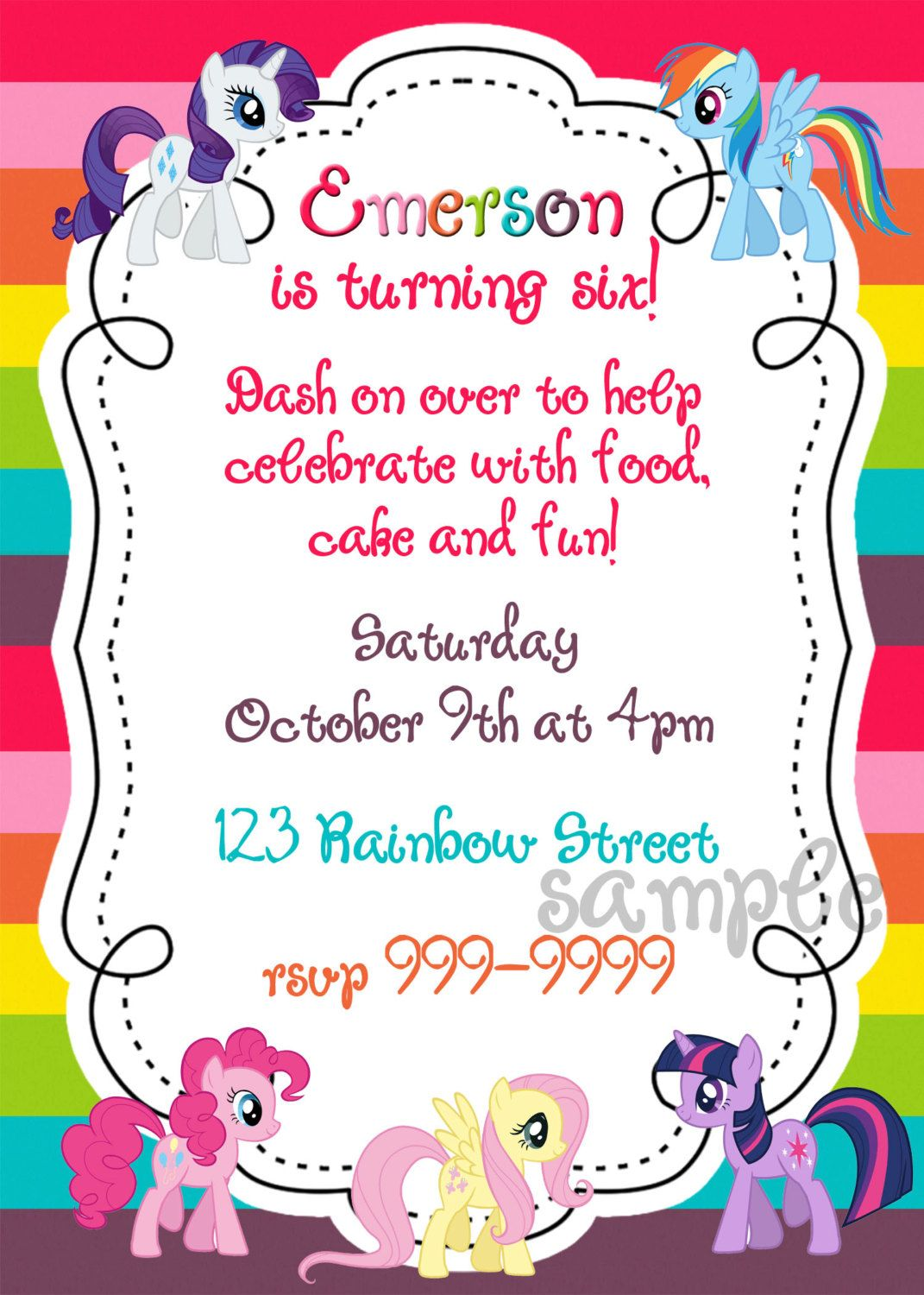 My Little Pony printable birthday invitation | Birthday Party Ideas ...