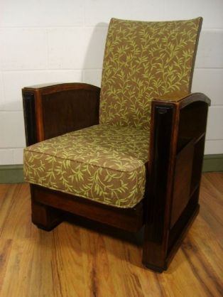 Strange Antique Art Deco Oak Reclining Chair C 1920 Home Machost Co Dining Chair Design Ideas Machostcouk