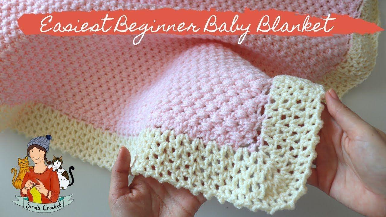How To Crochet Easiest Beginner Baby Blanket   YouTube   Crochet ...