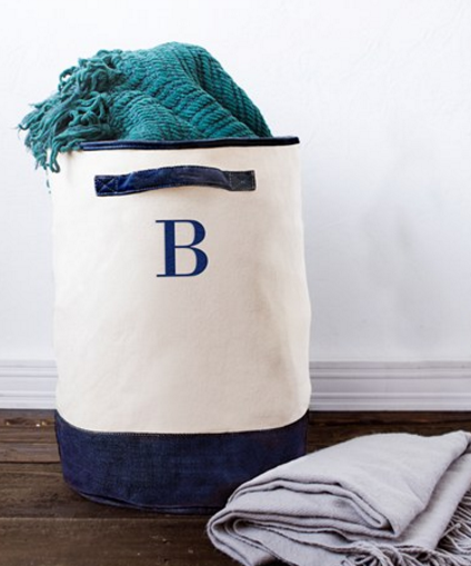 Monogram Round Canvas Hamper