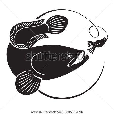 Snakehead Fish Stock Vectors Vector Clip Art Ikan Siluet