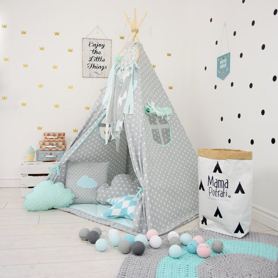 teepee set kids play tent tipi kid play teepee child teepee wigwam zelt tente minty memories. Black Bedroom Furniture Sets. Home Design Ideas