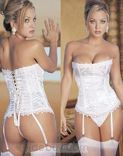 13089dac337fe Beautiful White Lace Up Corset Angel Costume Bride Wedding Lingerie ...