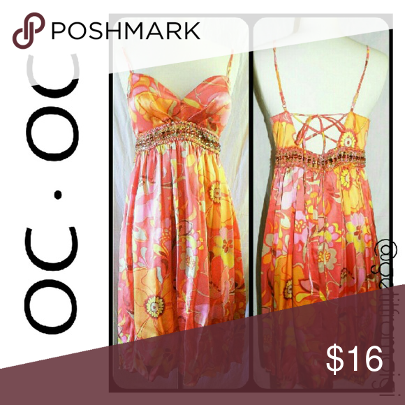 OC·OC Summer Dress Size small. Embellished with multicolored stones around the waist. Above the knee with spaghetti straps. Very colorful. Light and flowy. OC OC Dresses Mini