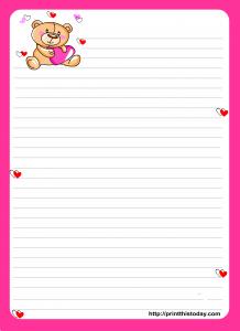 Oso de peluche lindo escritura de papel con el borde de color rosa