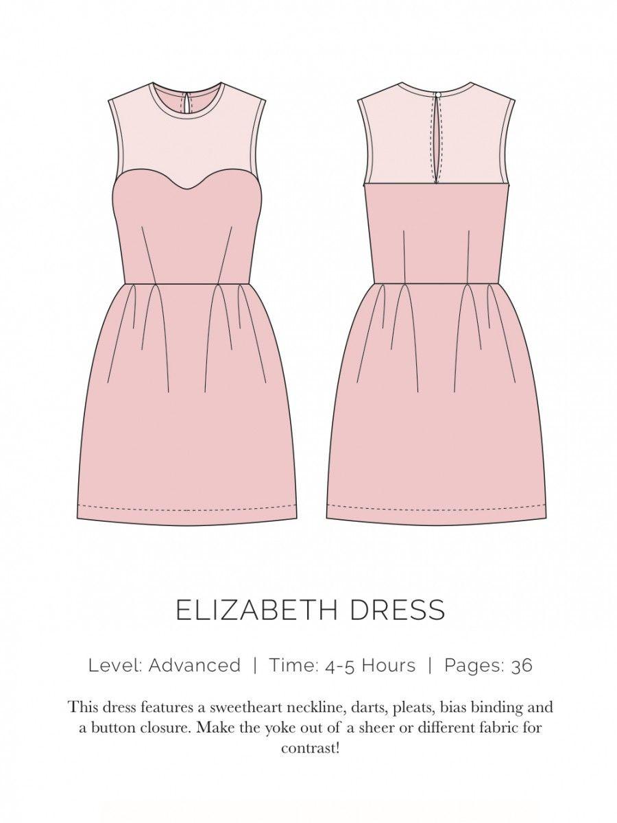 Elizabeth Dress Flat | photoshop | Pinterest | Planos, Costura y ...