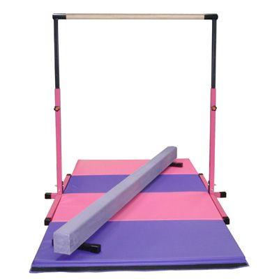 f24afc3ddc85 Little Gym - Pink Adjustable Horizontal Bar, 8ft Purple Low Balance Beam  and Pink and Purple Folding Gymnastics Mat