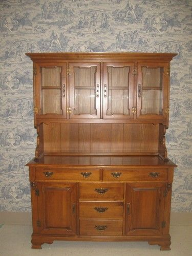 Tell City Hard Rock Maple Half Glass China Cabinet Hutch 8388