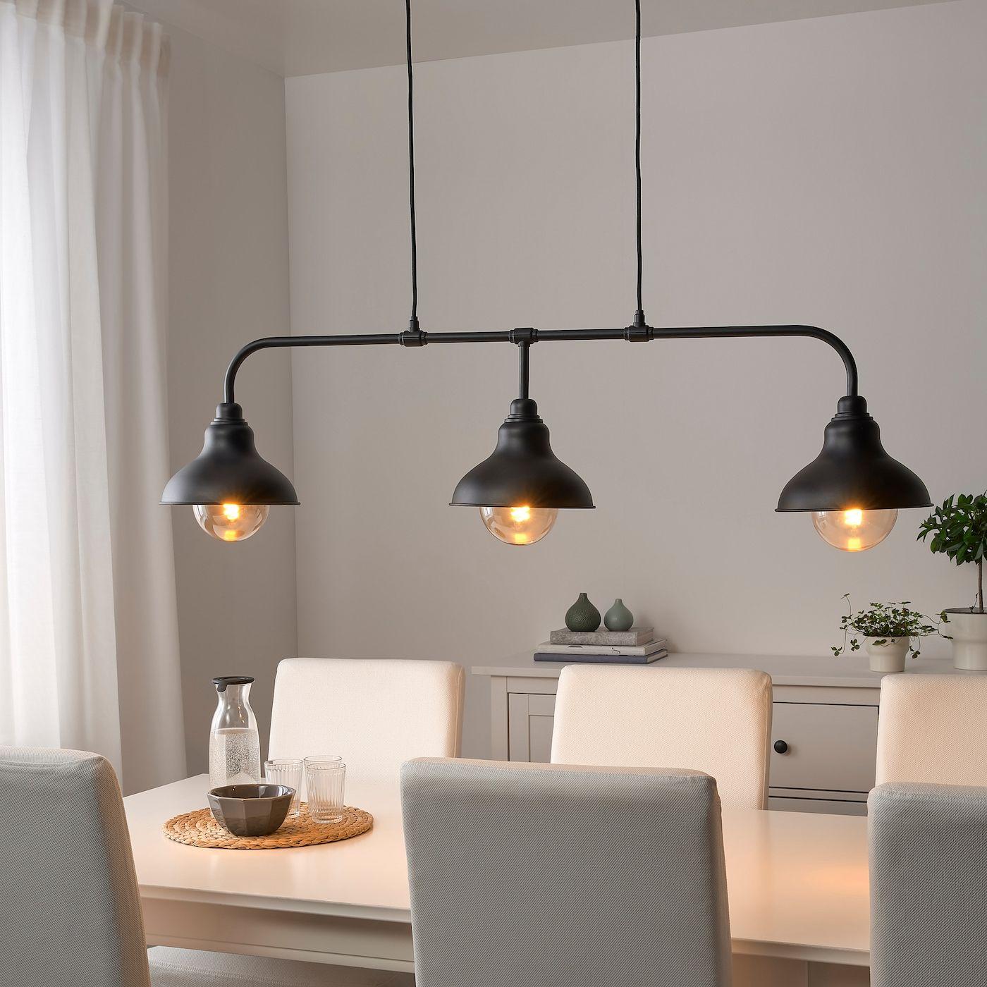 Agunnaryd Hangeleuchte Mit 3 Lampen Schwarz Ikea Deutschland Pendant Lighting Over Dining Table Black Lamps Pendant Lights Chandeliers