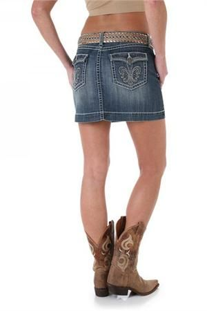 Wrangler Denim Skirt With Cowgirl Boots
