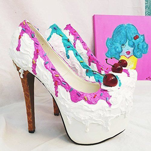 """Adorable Ice Cream Sundae Inspired Stiletto Party Shoes w/6"""" Heel & Concealed Platform!"""