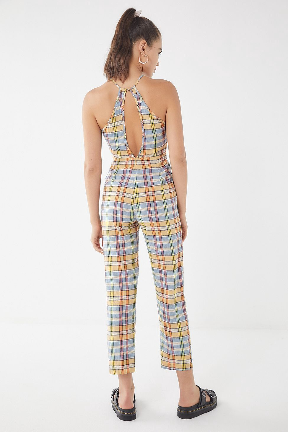 dfce91847cb Urban Outfitters Uo Hattie High-Neck Linen Jumpsuit - Yellow Multi 2 Navy