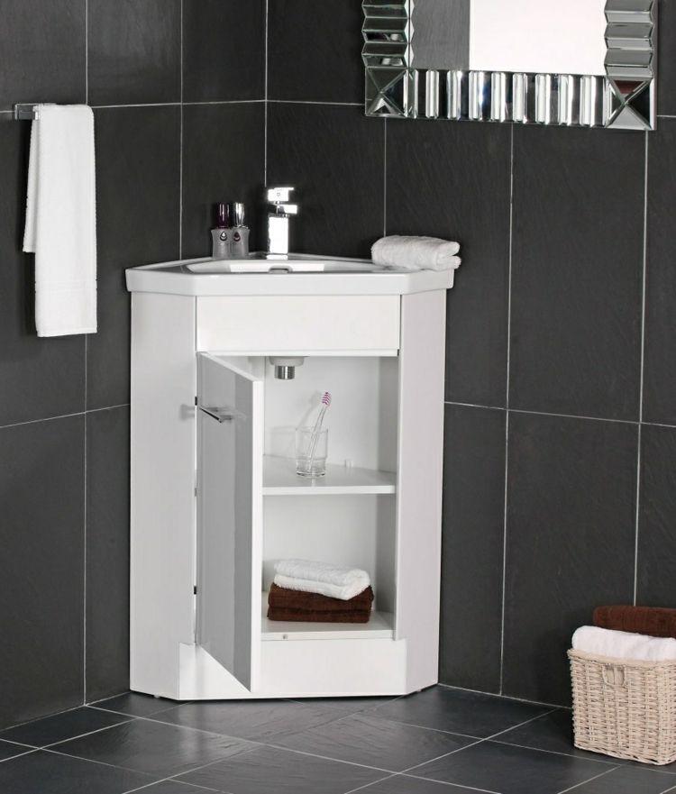 Badmoebel Kleine Baeder Weiss Eckschrank Schwarz Fliesen Modern Silber Spiegel Badezimmer Eckschrank Badezimmerwaschtisch Schrank Regale
